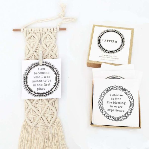macrame hanging affirmation cards